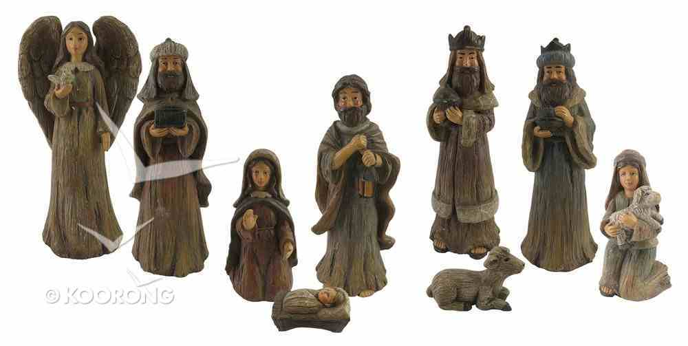 Resin Wood Look Nativity (Set Of 9) Homeware