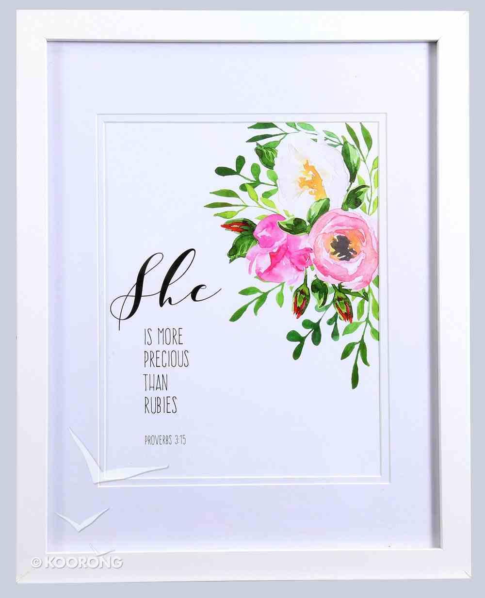 Medium Framed Print: Watercolour Flowers, She is More Precious Than Rubies (Proverbs 3:15) Plaque