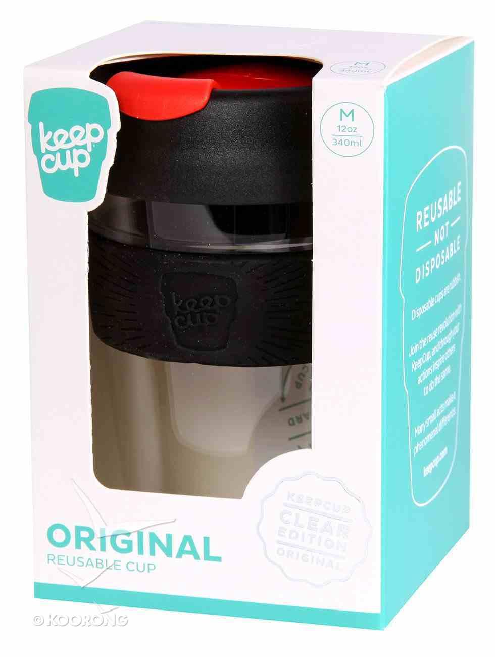 Keep Cup: Original Clear Edition, Medium 12Oz, Black Band & Lid, Vibrant Red Plug Homeware