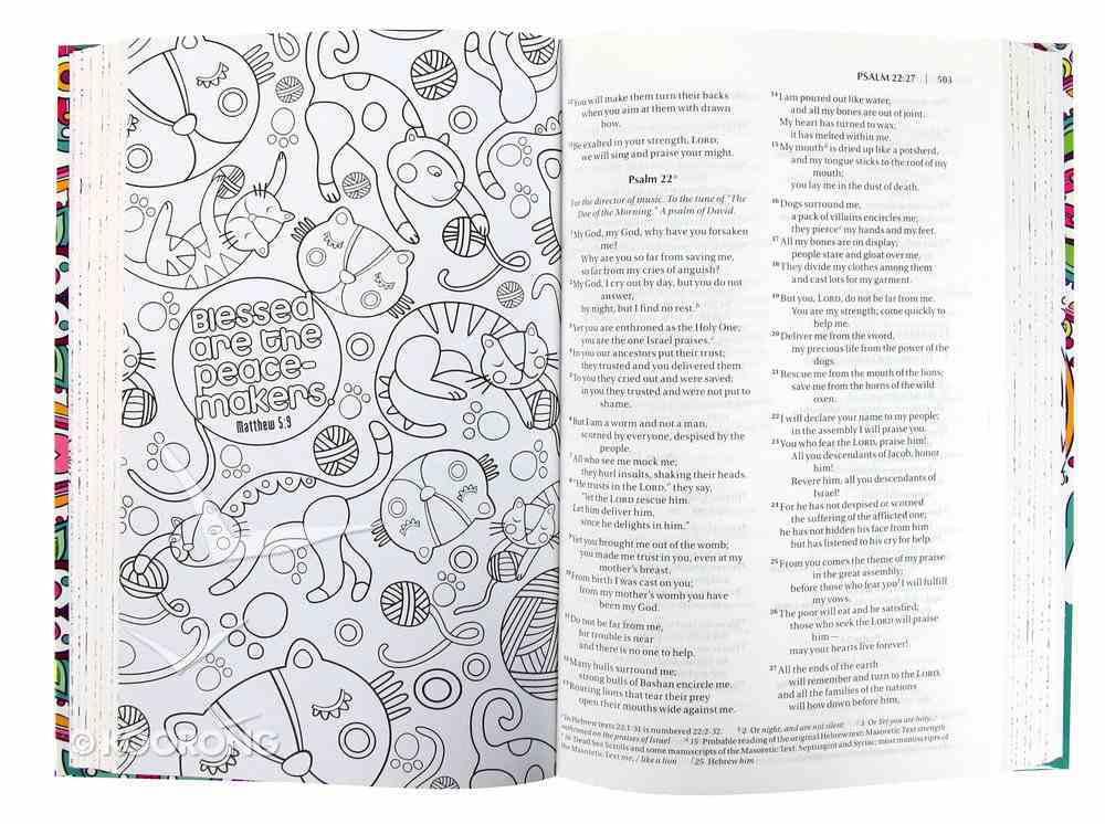 NIV Inspiring Words Bible: 52 Verses to Color (Black Letter Edition) Hardback