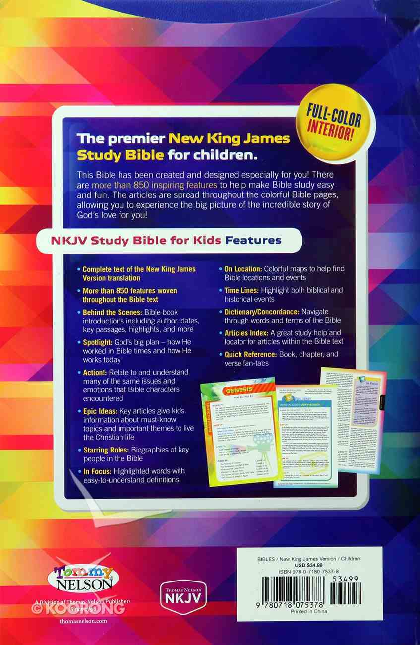 NKJV Study Bible For Kids Blue (Black Letter Edition) Flexi Back