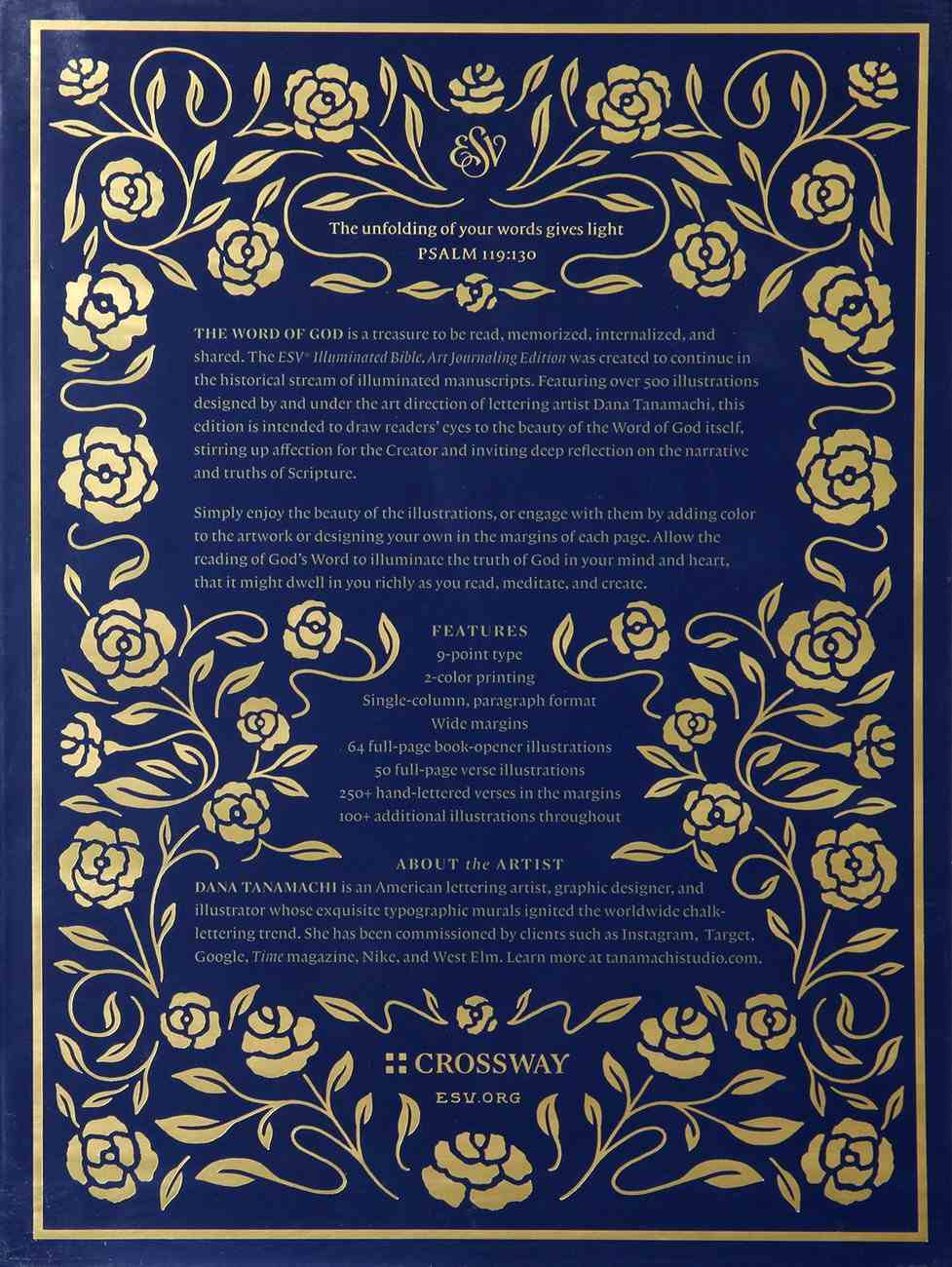 ESV Illuminated Bible Art Journaling Edition Blue With Slipcase (Black Letter Edition) Fabric Over Hardback