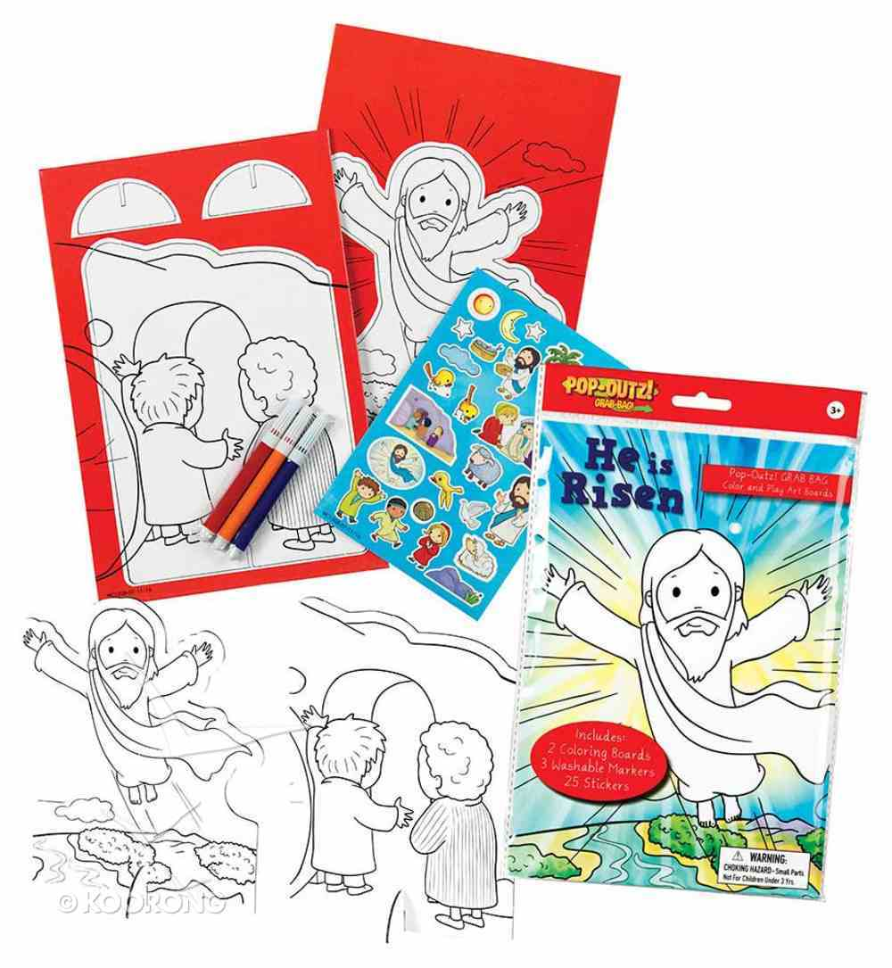 He is Risen Pop-Outz Art Boards, 3 Washable Markers, 25 Stickers, 4 Color Hanging Bag Stationery