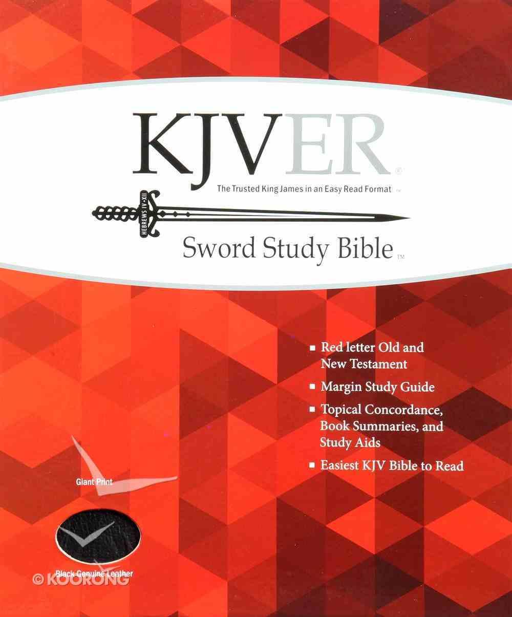 Kjver Sword Study Bible Giant Print Black (Red Letter Edition) Genuine Leather