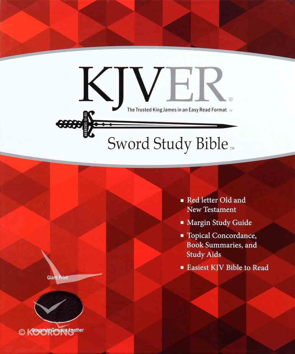Kjver Sword Study Bible Giant Print Burgundy (Red Letter Edition) Genuine Leather