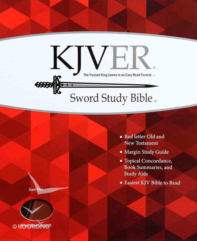 Kjver Sword Study Bible Giant Print Dark Brown/Light Brown (Red Letter Edition) Imitation Leather