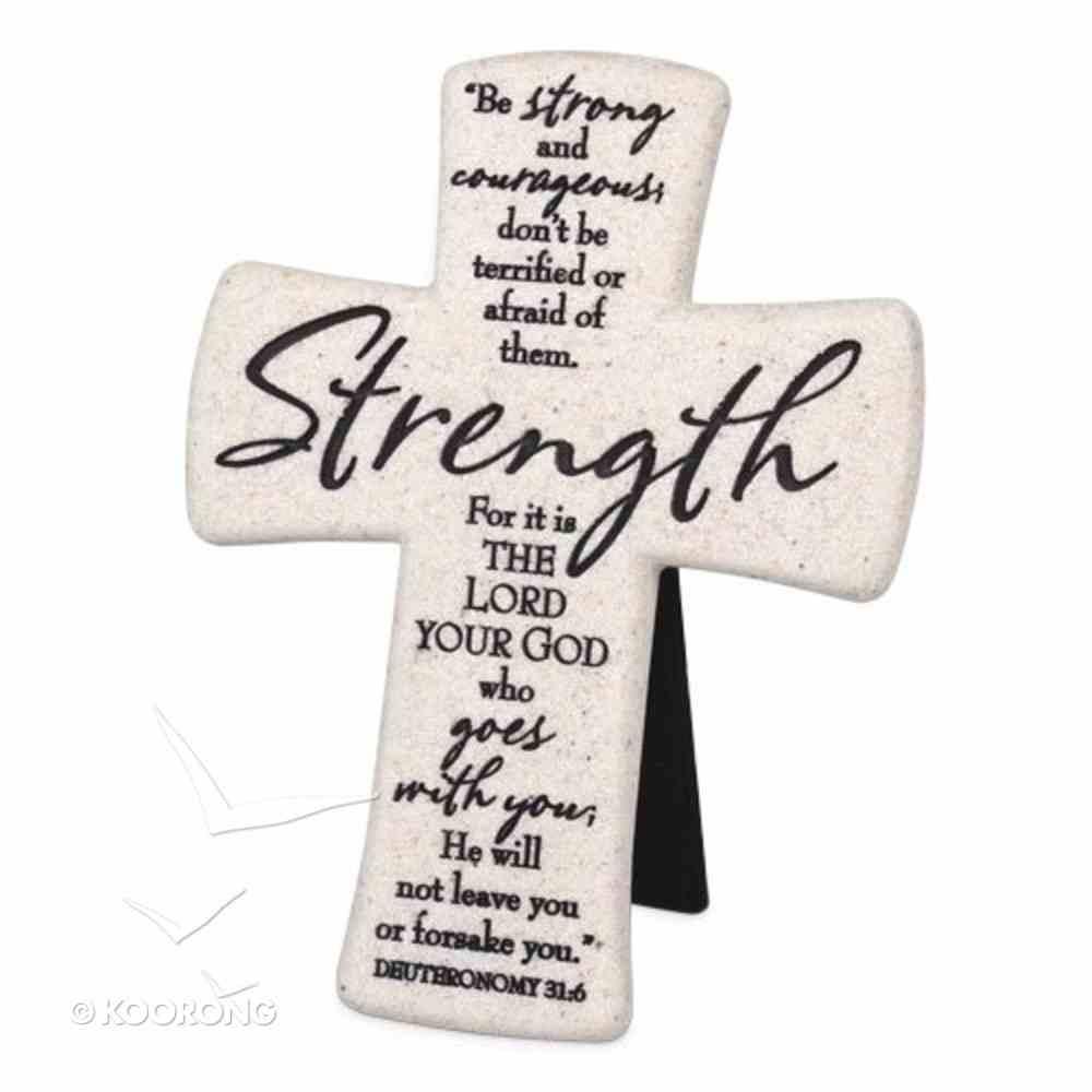 Cast Stone Desktop Cross: Scripture Strength (Deut 31:6) Homeware
