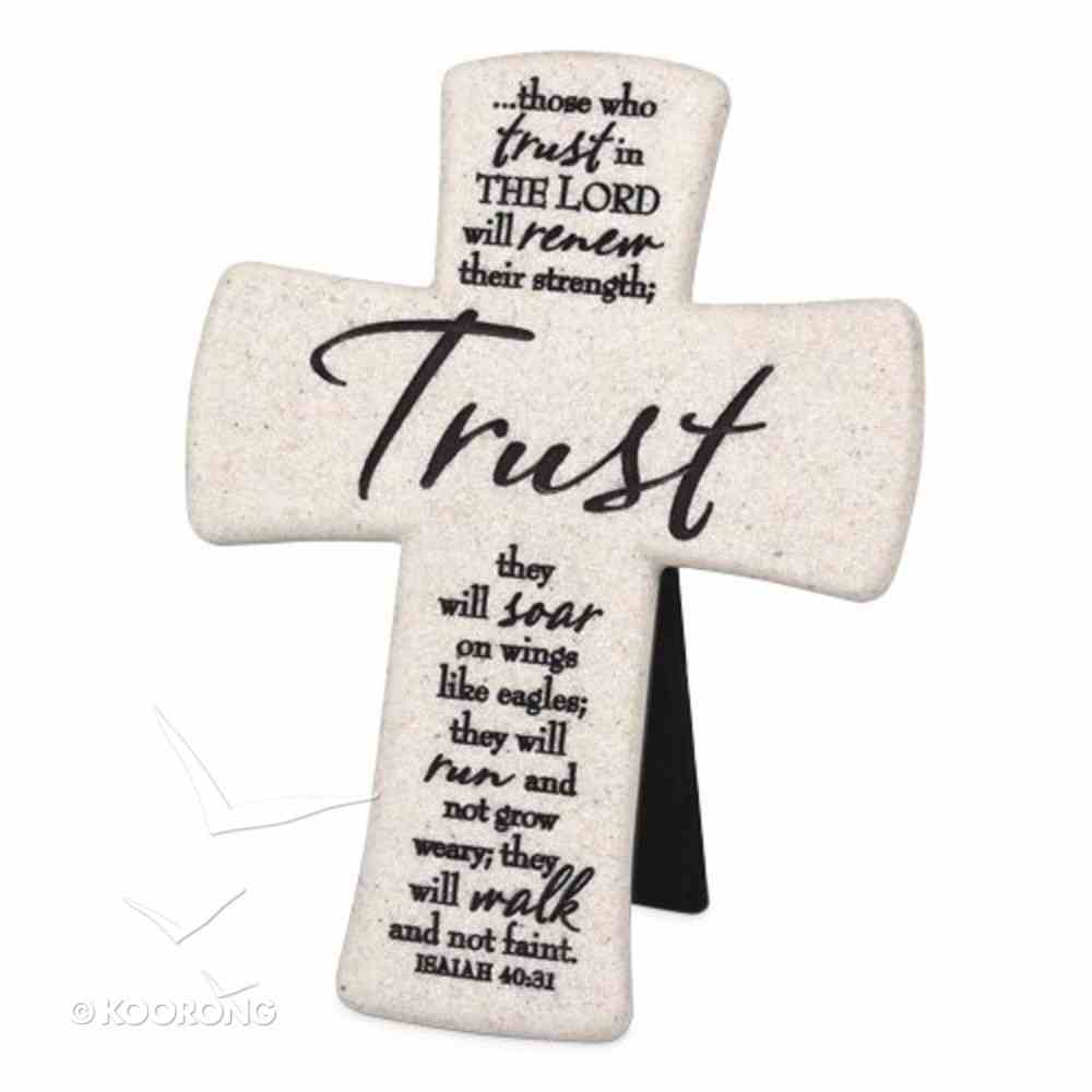 Cast Stone Desktop Cross: Scripture Trust (Isaiah 40:31) Homeware