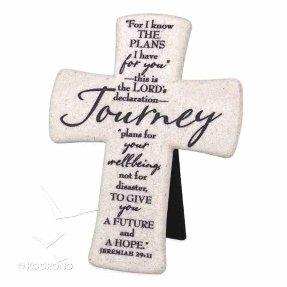 Cast Stone Desktop Cross: Scripture Journey (Jeremiah 29:11) Homeware