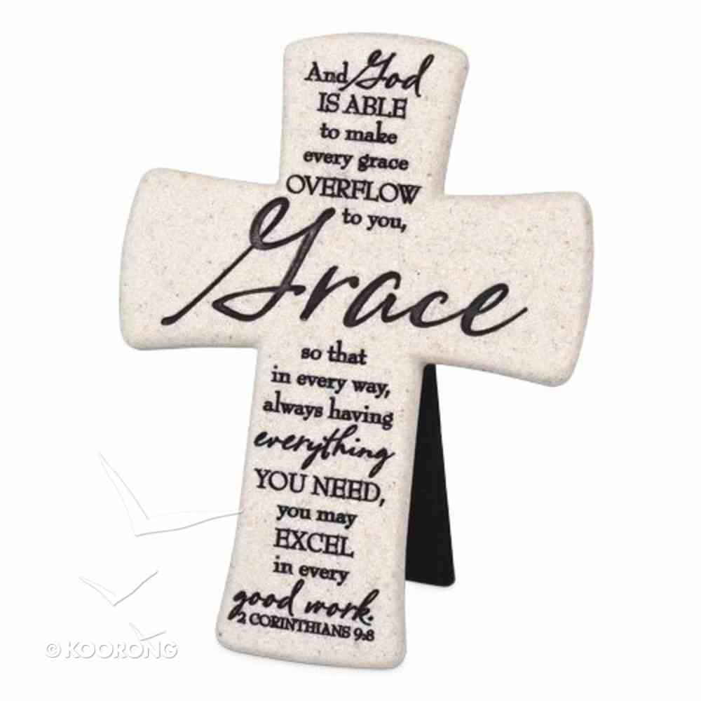 Cast Stone Desktop Cross: Scripture Grace (2 Cor 9:8) Homeware