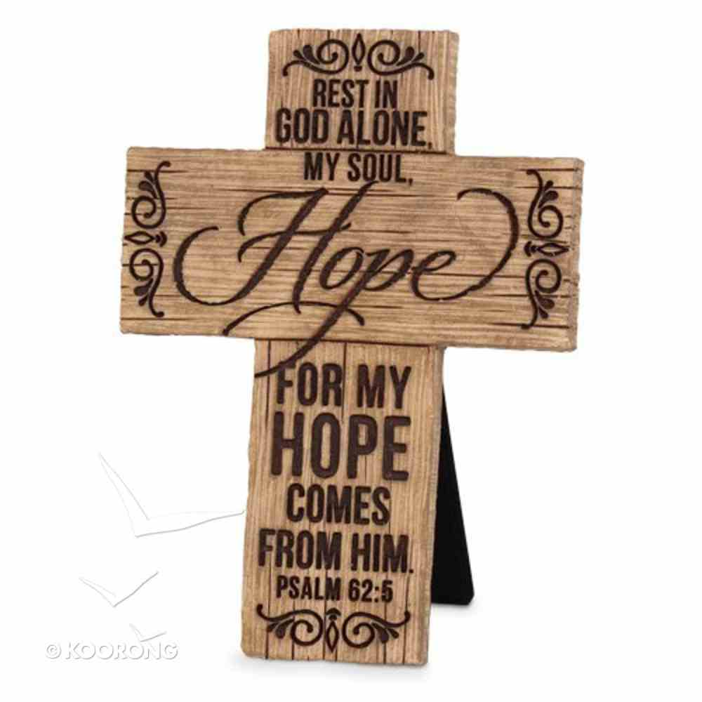 Cross Cast Stone Wood Grain: Hope (Psalm 62:5) Plaque