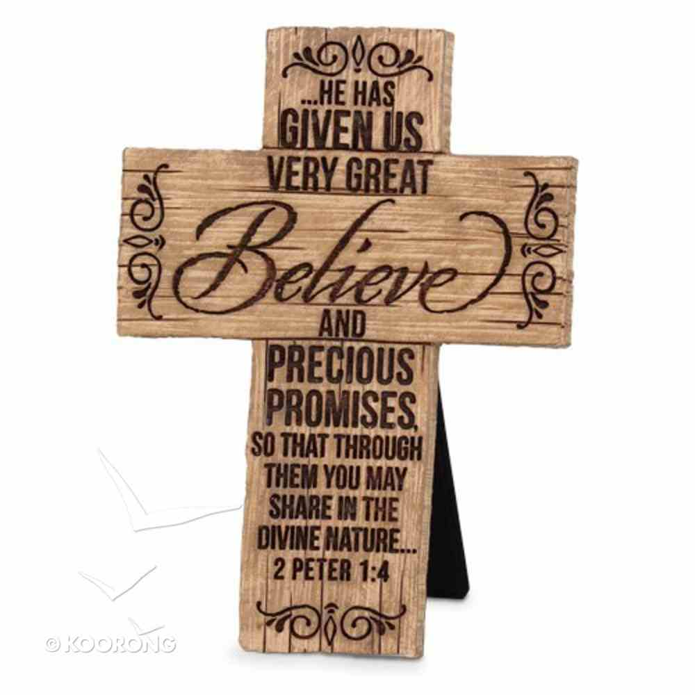Cross Cast Stone Wood Grain: Believe (2 Peter 1:4) Plaque