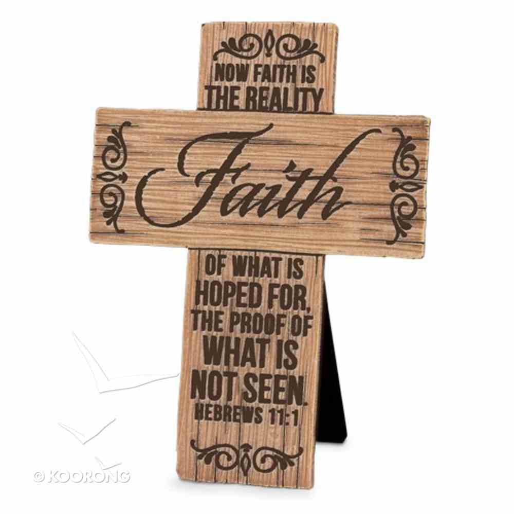 Cross Cast Stone Wood Grain: Faith (Hebrews 11:1) Plaque