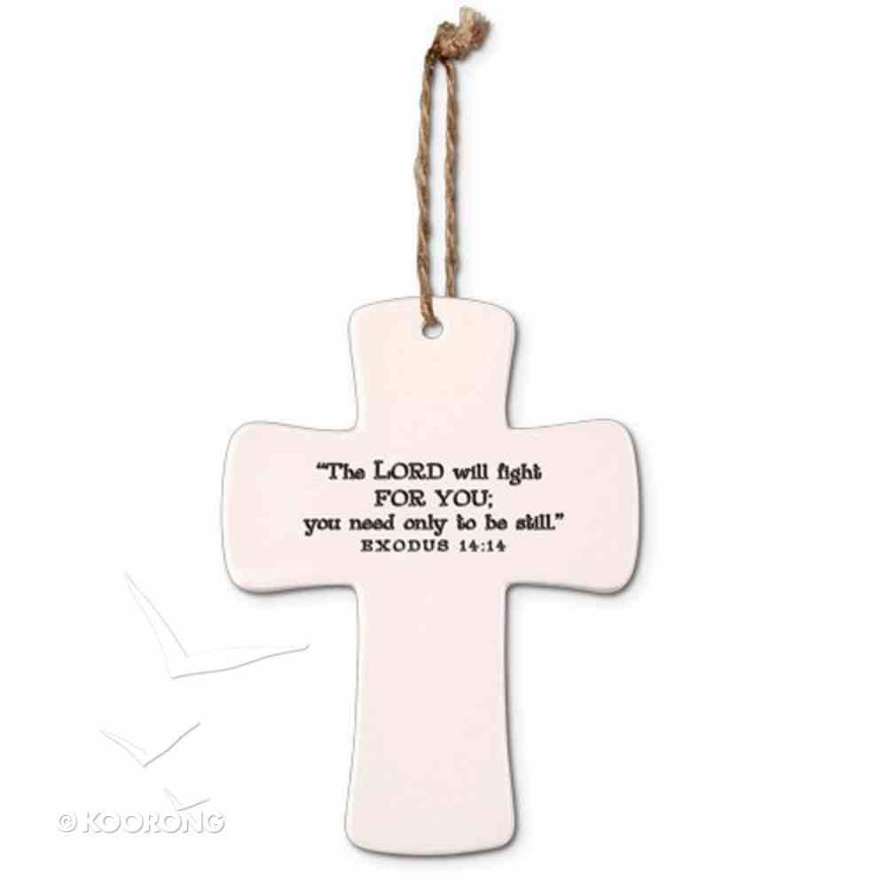 Ceramic Cross: Peace God's Promises, Cream With Cord (Exodus 14:14) Homeware