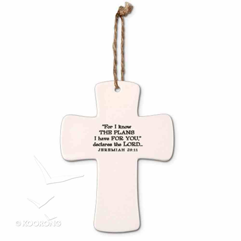 Ceramic Cross: Hope God's Promises, Cream With Cord (Jeremiah 29:11) Homeware