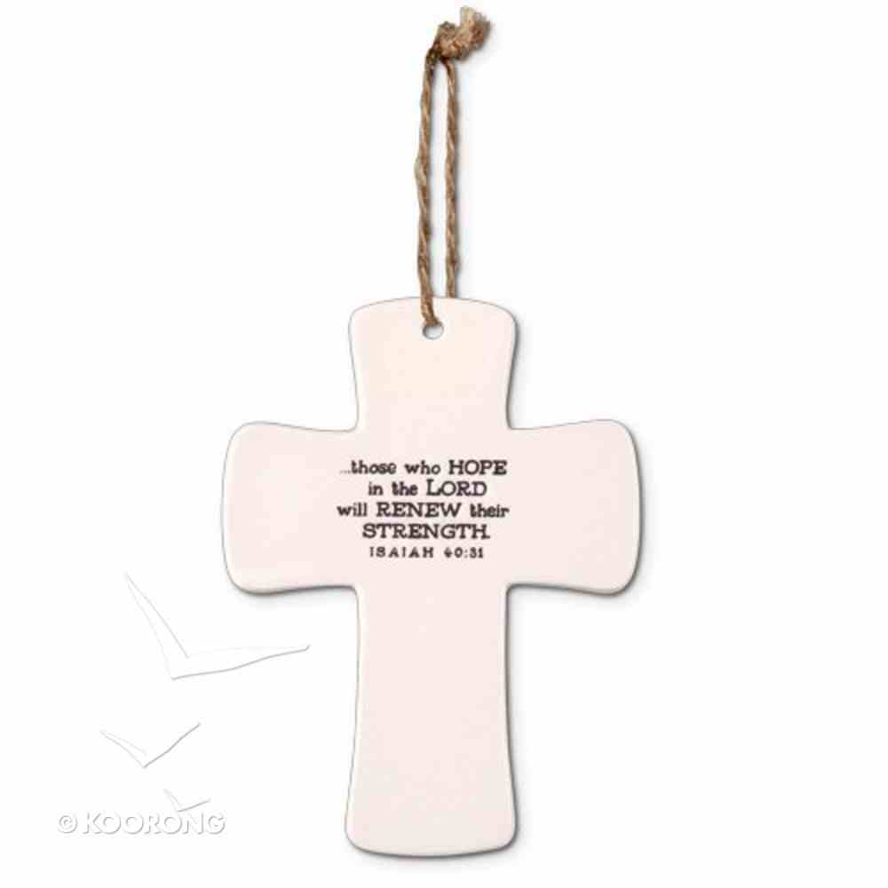 Ceramic Cross: Strength God's Promises, Cream With Cord (Isaiah 40:31) Homeware