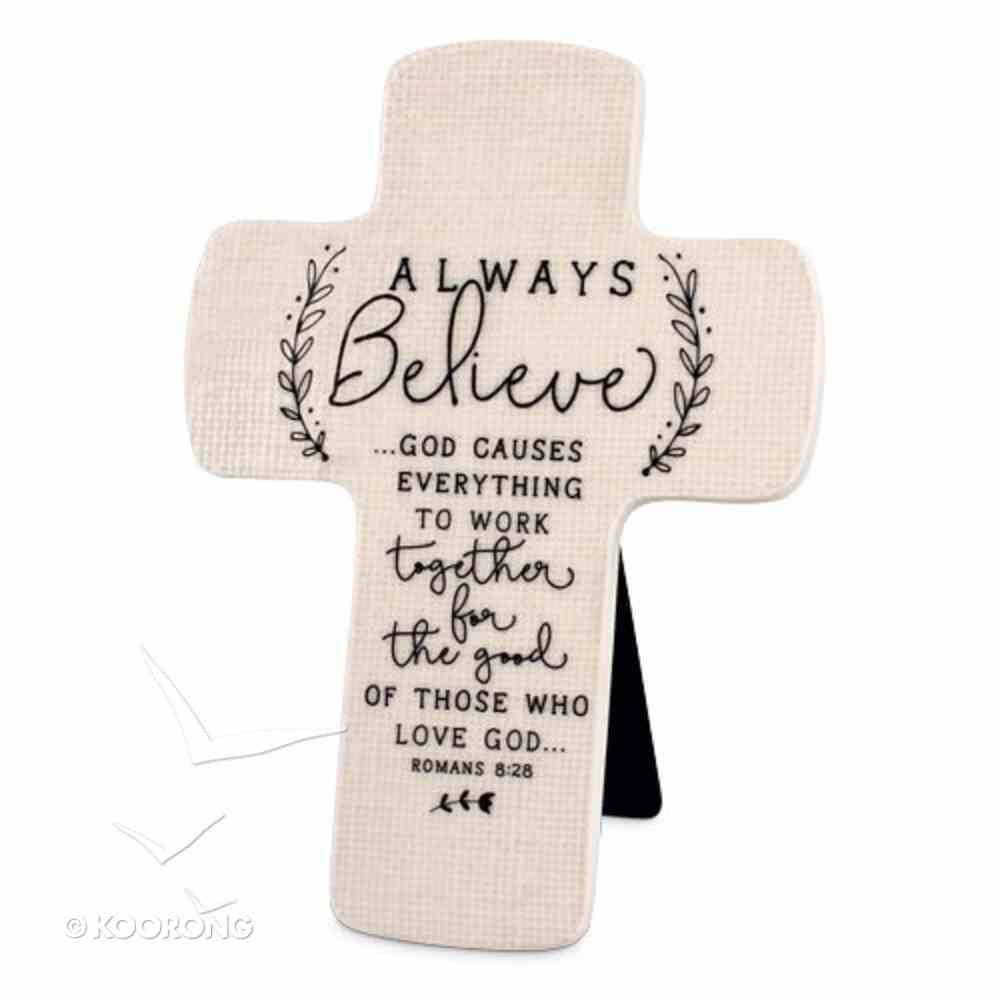 Cross Ceramic Hand Drawn Doodles: Always Believe (Romans 8:28) Plaque