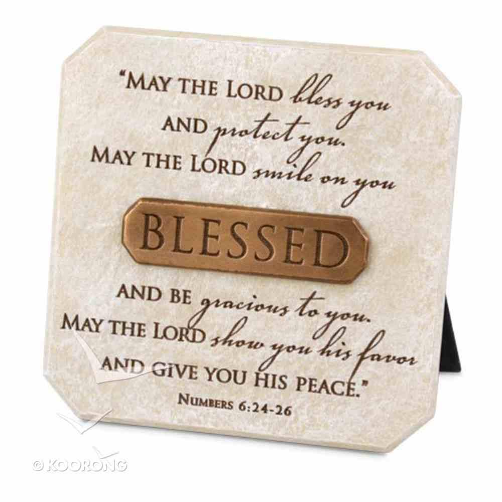 Bronze Title Bar Plaque: Blessed, Cast Stone (Num 6:24-26) Plaque