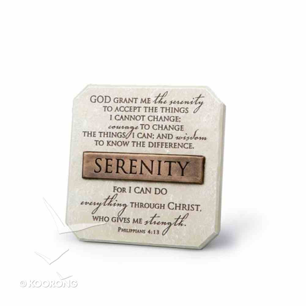 Bronze Title Bar Cast Stone Plaque: Serenity (Phil 4:13) Homeware