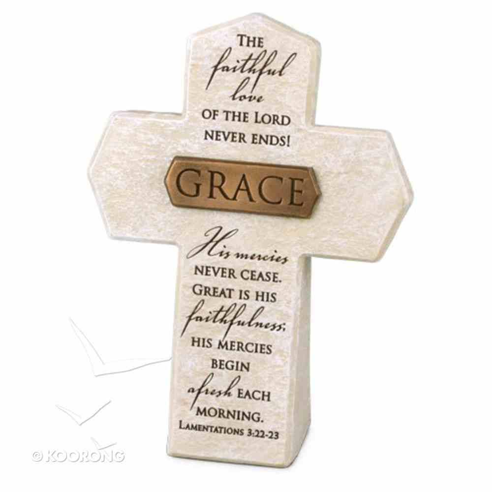 Bronze Title Bar Cross: Grace, Cast Stone (Lam 3:22-23) Homeware