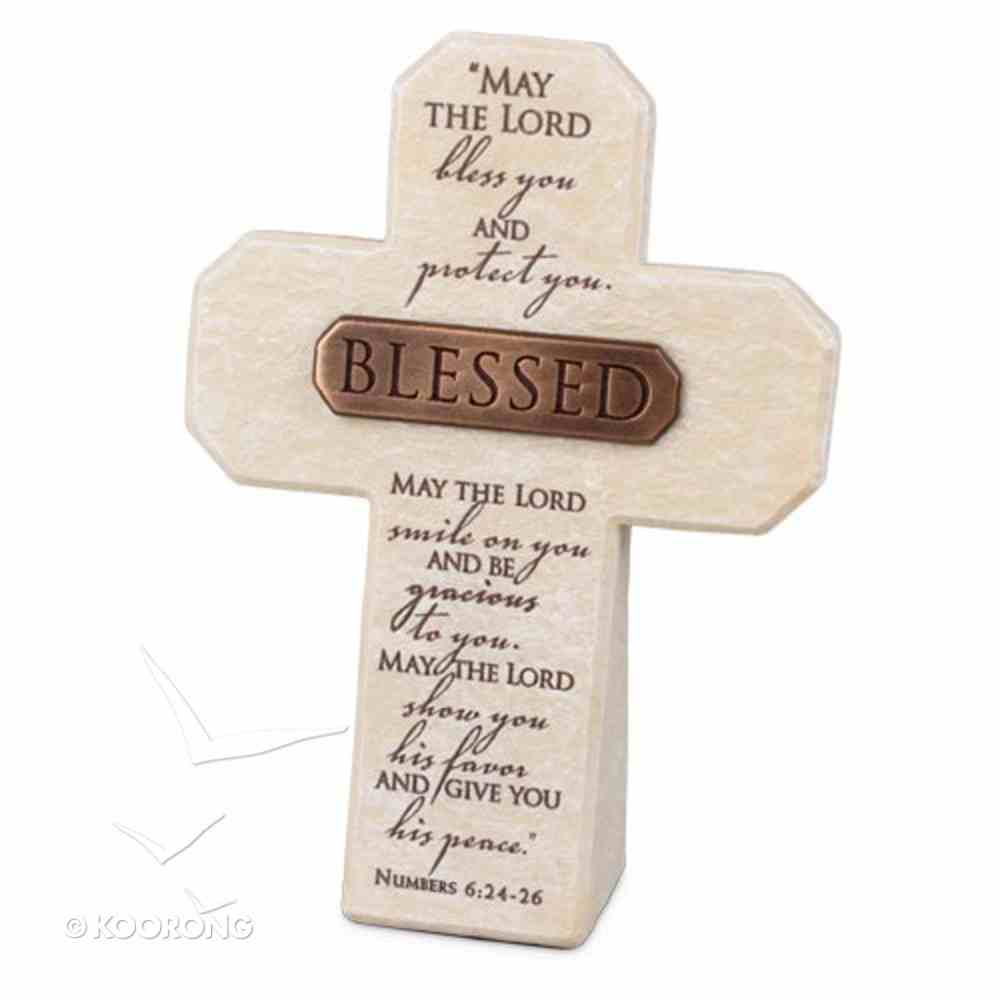 Bronze Title Bar Cross: Blessed, Cast Stone (Num 6:24-26) Homeware