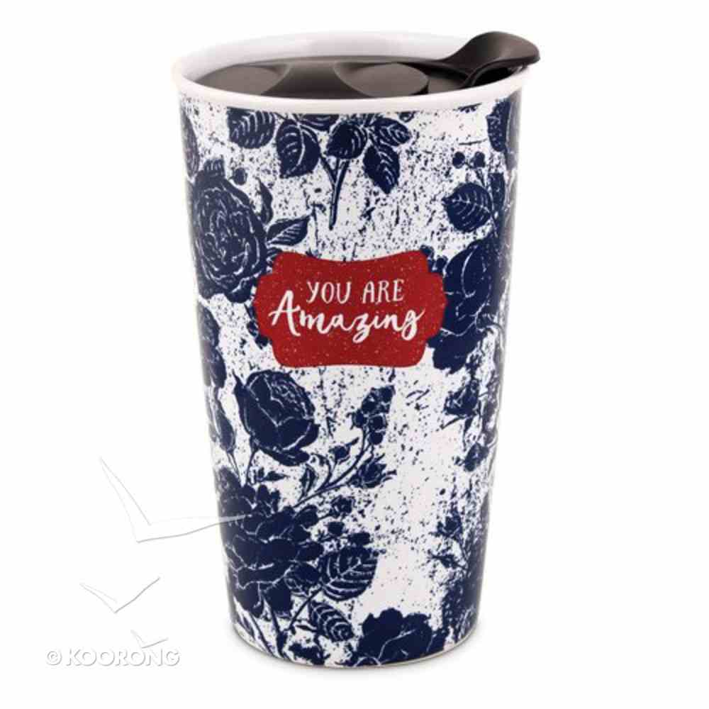 Ceramic Tumbler Mug Pretty Prints: You Are Amazing, Navy/White (Proverbs 31:25) Homeware