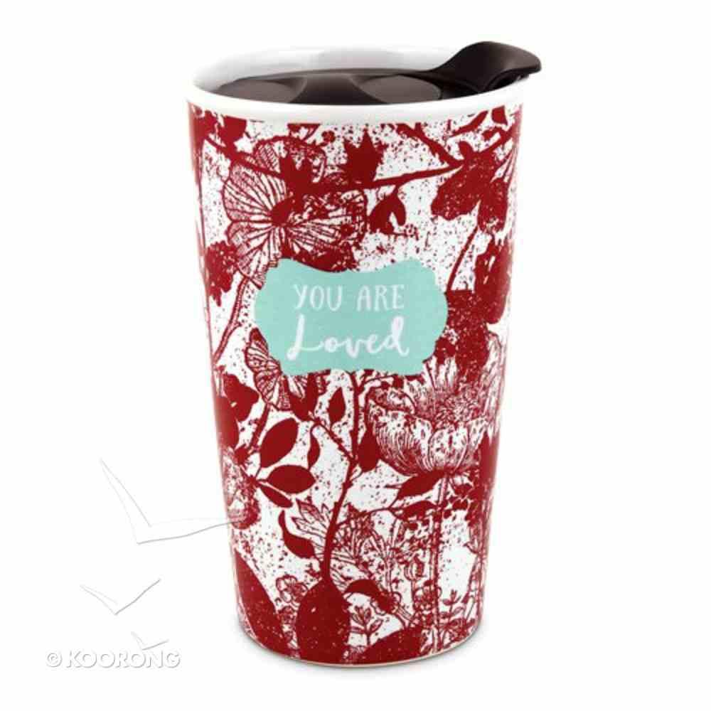 Ceramic Tumbler Mug Pretty Prints: You Are Loved, Red/White (Isaiah 43:4) Homeware