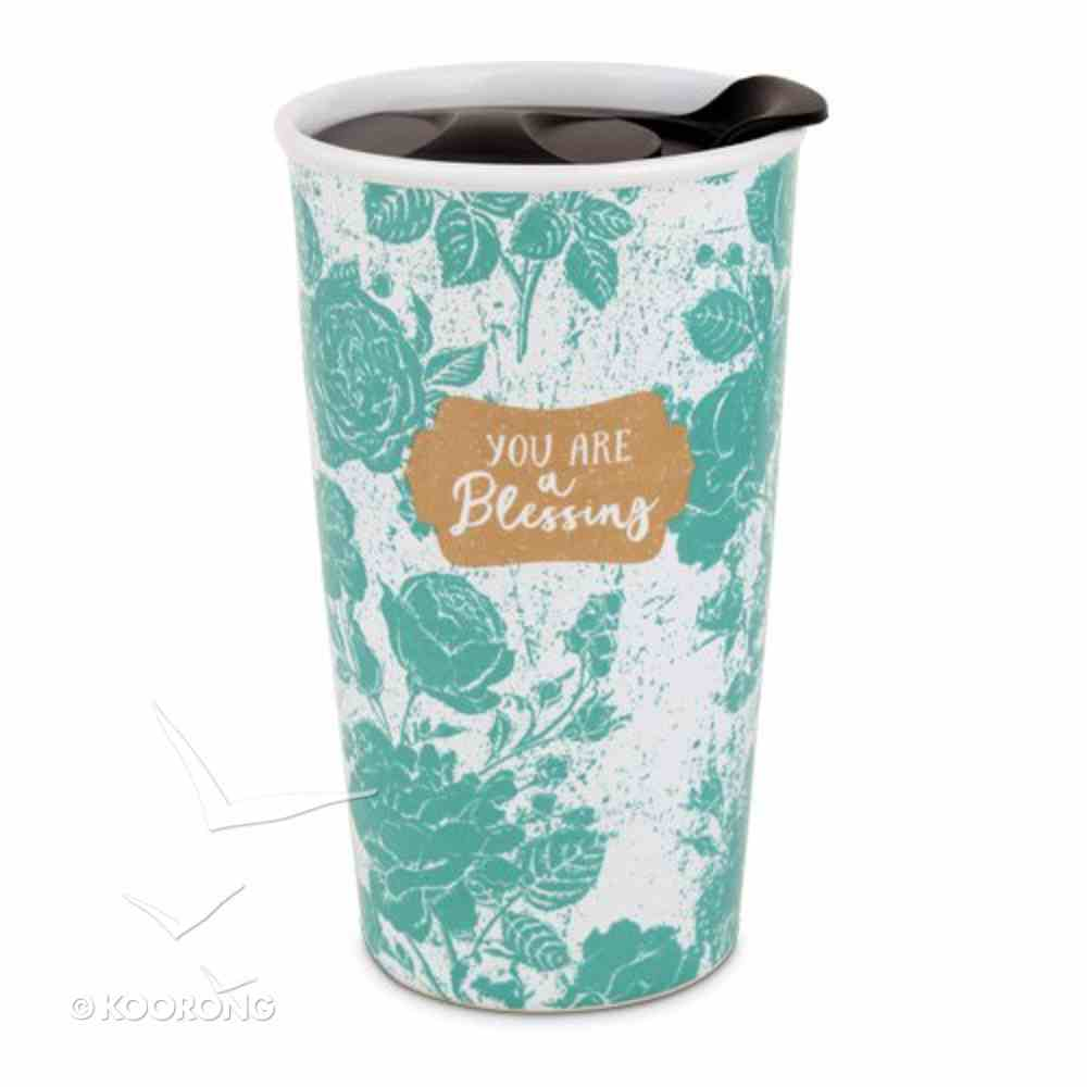 Ceramic Tumbler Mug Pretty Prints: You Are a Blessing, Turquoise/White (Philemon 1:7) Homeware