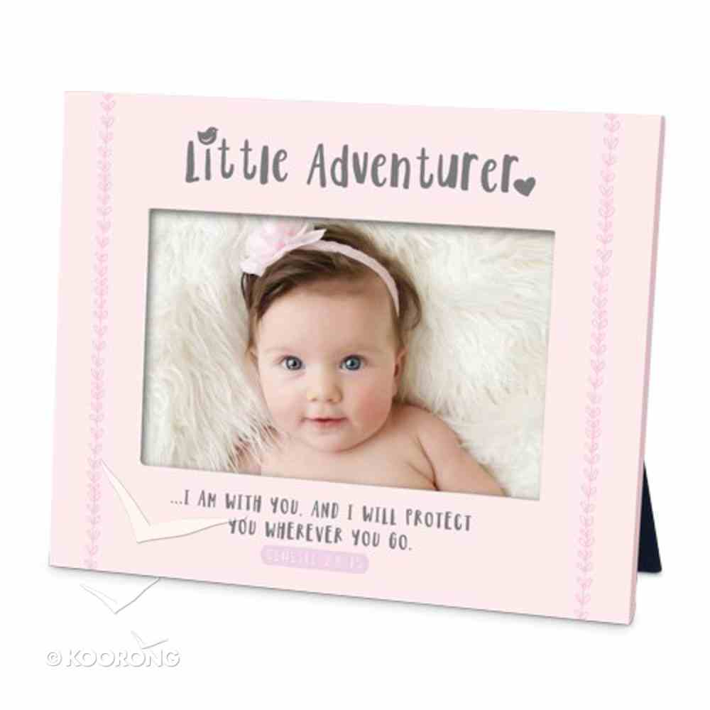 Frame Little Adventurer: I Am With You and I Will Protect You, Pink (Genesis 28:15) Plaque