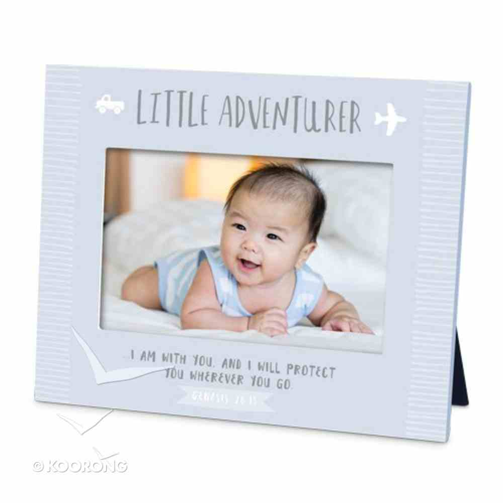 Frame Little Adventurer: I Am With You and I Will Protect You, Blue (Genesis 28:15) Plaque