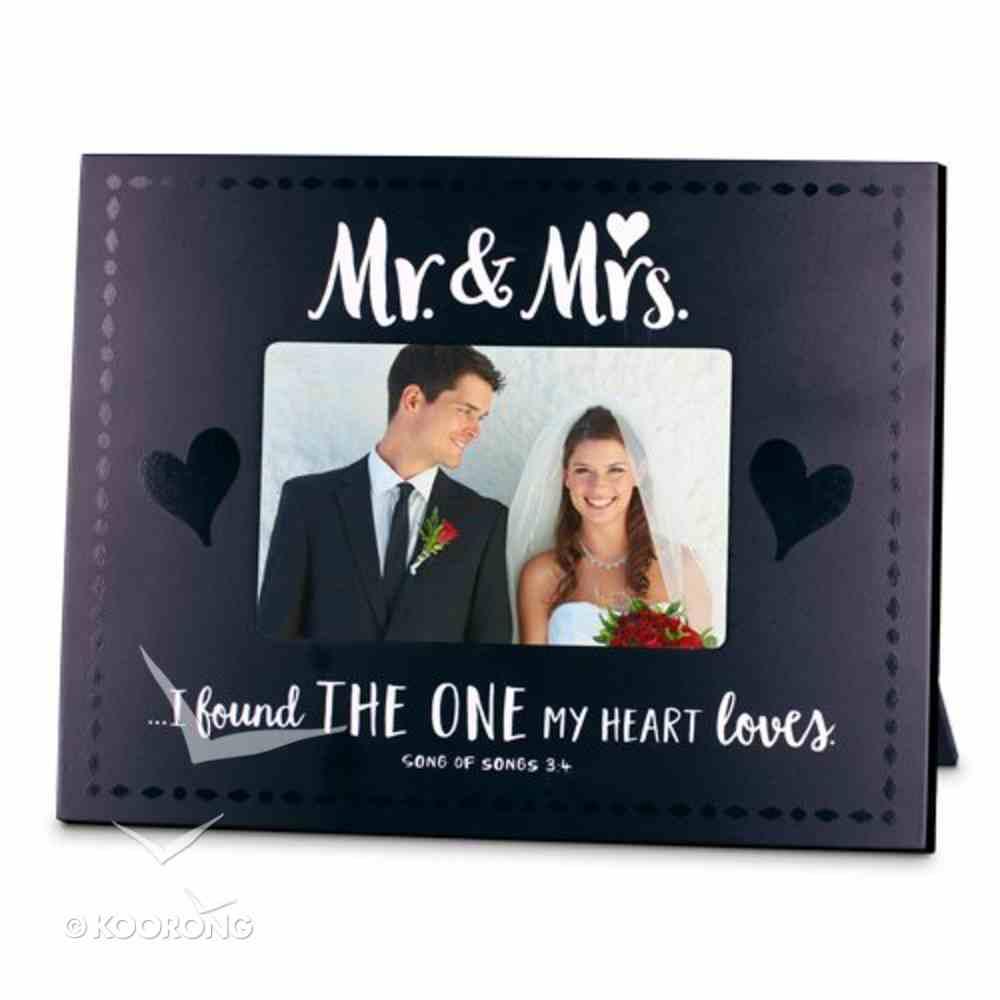 Mdf Frame: Handwritten Mr & Mrs, Black & White (Song Of Songs 3:4) Homeware