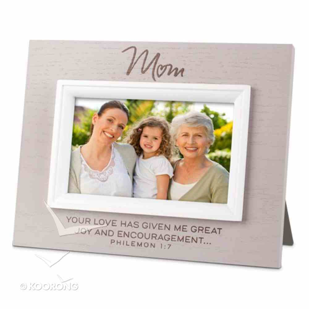 Mdf Textured Frame: Blessings Mum, Cream (Philemon 1:7) Homeware