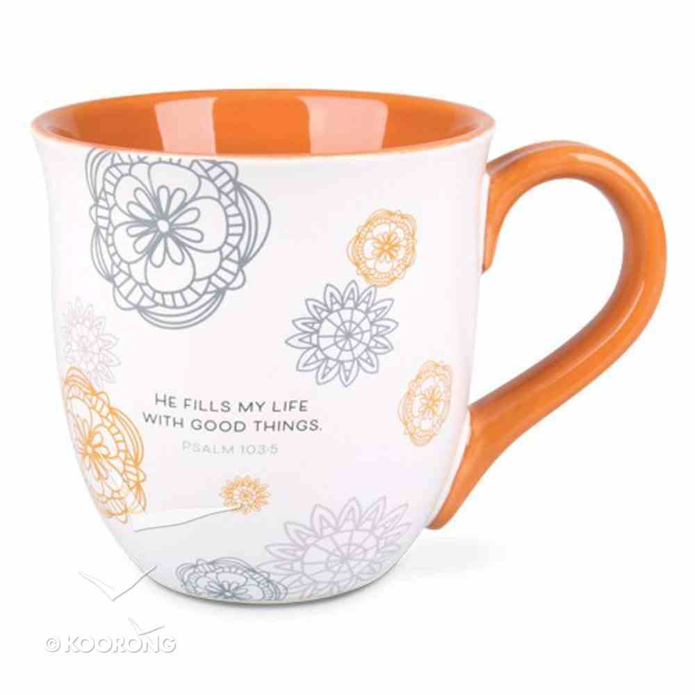Ceramic Mug: Thankful, Grateful, Blessed, Orange/White (Psalm 103:5) Homeware