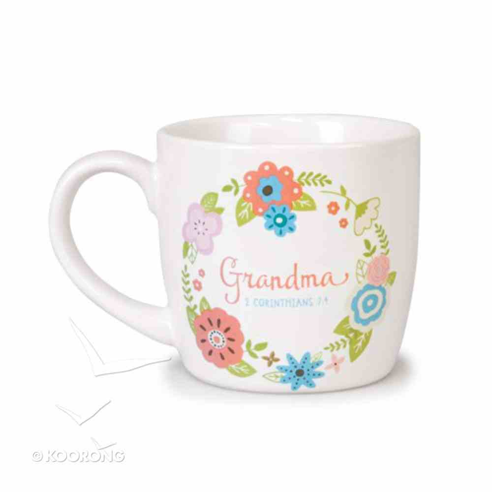 Ceramic Mug Flowers For You: Grandma, Gladness Floral Pattern (2 Cor 7:4) Homeware