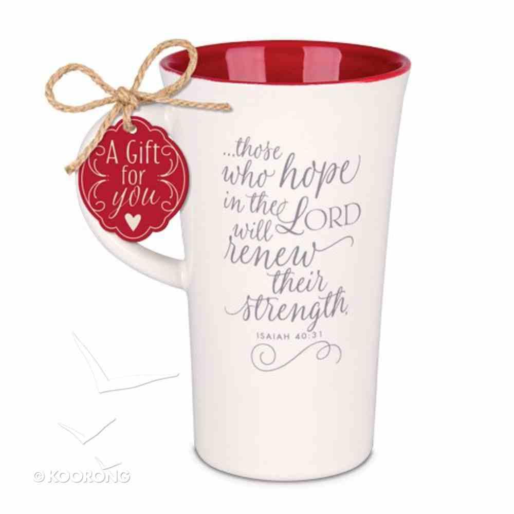 Latte Ceramic Tall Mug: Hope in the Lord, Burgundy/Cream (Isaiah 40:31) Homeware
