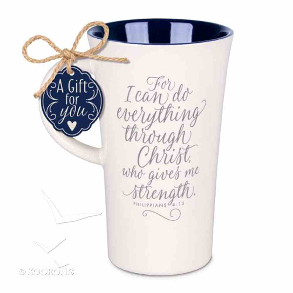 Latte Ceramic Tall Mug: I Can Do Everything Through Christ, Navy/Cream (Phil 4:13) Homeware