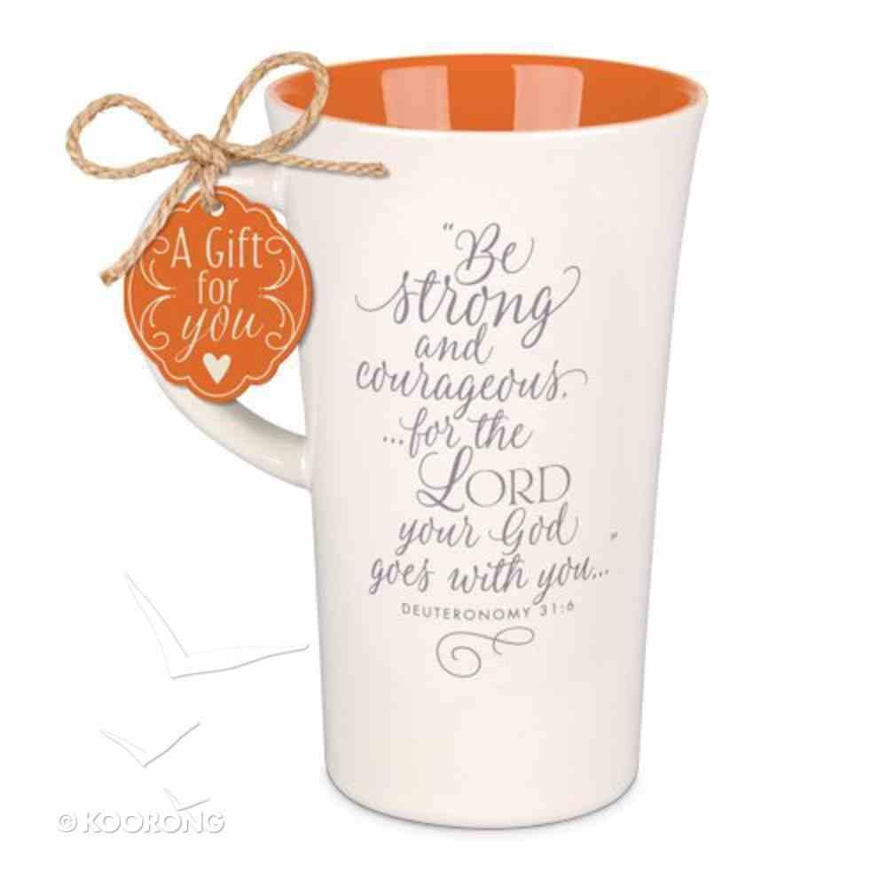 Latte Ceramic Tall Mug: Be Strong & Courageous, Red/Cream (Deut 31:6) Homeware