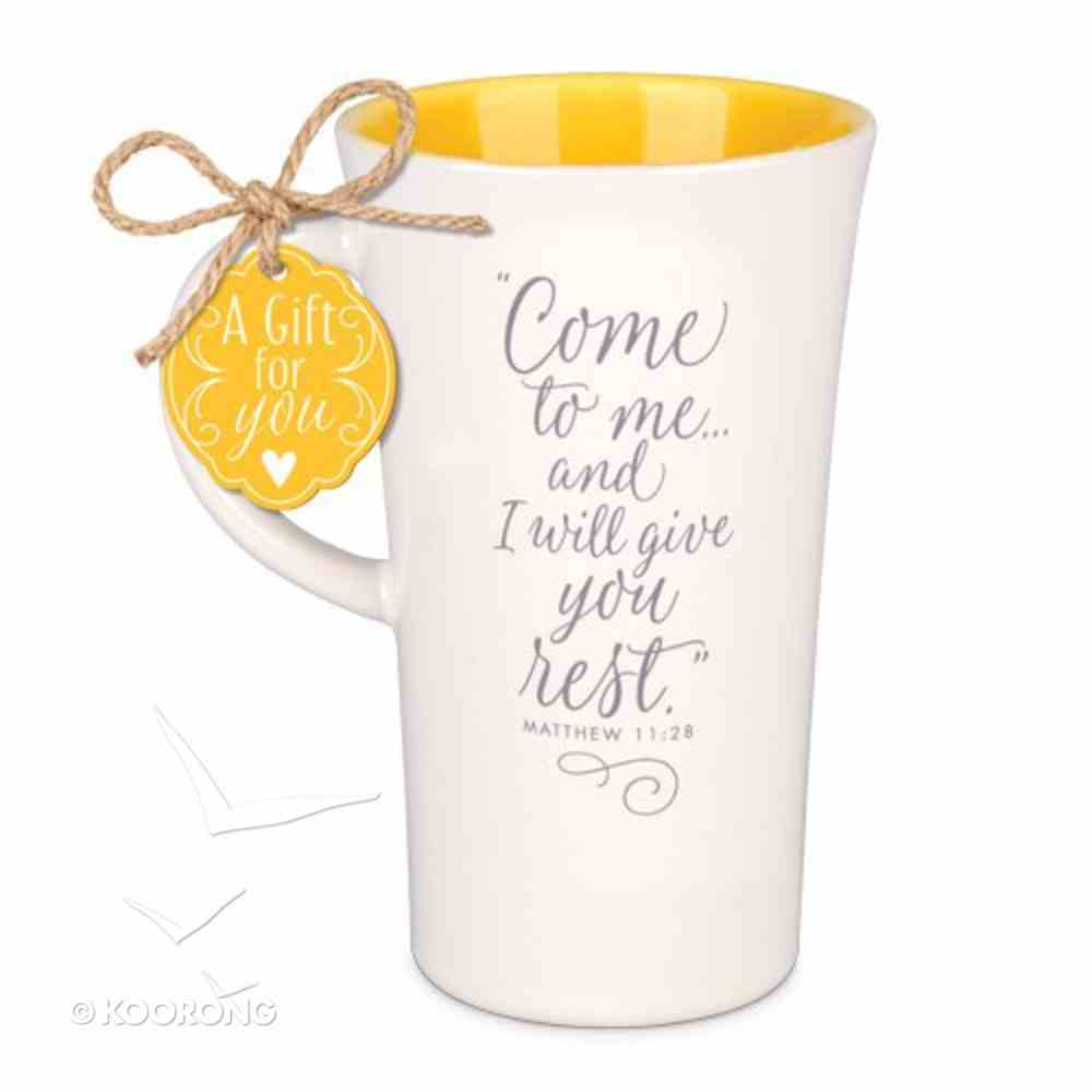 Latte Ceramic Tall Mug: Come to Me and I Will Give You Rest, Yellow/Cream (Matthew 11:28) Homeware