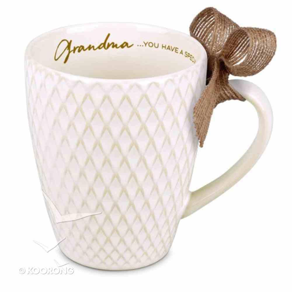 Ceramic Textured Mug: Blessings Grandma, Cream (Phil 1:7) Homeware