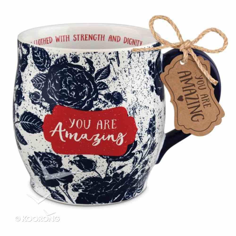 Ceramic Mug Pretty Prints: You Are Amazing, Navy/White (Proverbs 31:25) Homeware