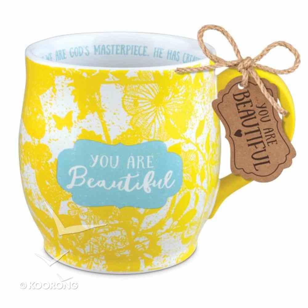 Ceramic Mug Pretty Prints: You Are Beautiful, Yellow/White, (Ephesians 2:10) Homeware