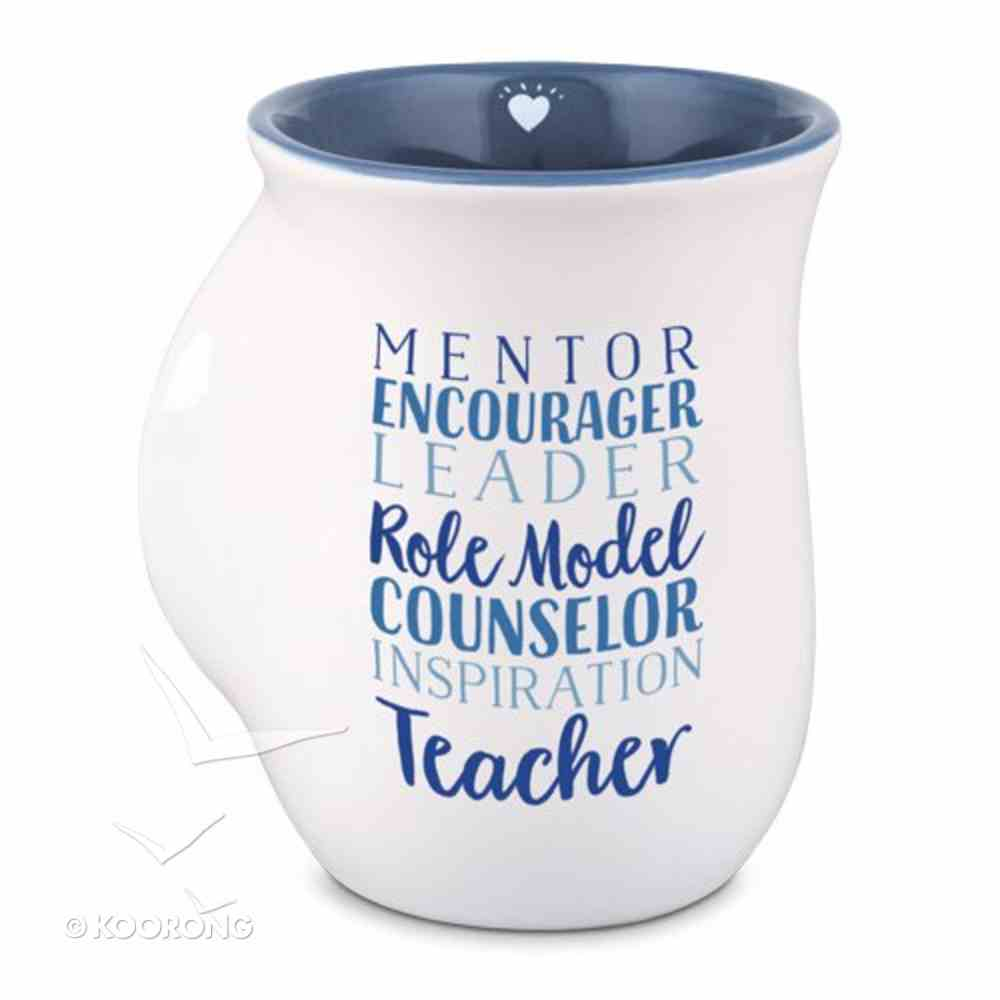 Ceramic Handwarmer Mug: Teacher, Navy/White (2 Corinthians 7:4) Homeware