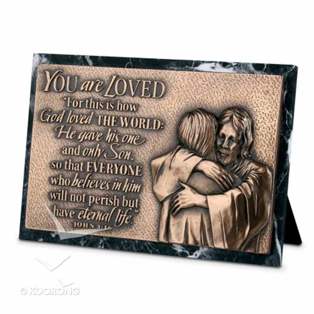 Moments of Faith Sculpture Plaque: Loved Marble (John 3:16) (Rectangle) Homeware