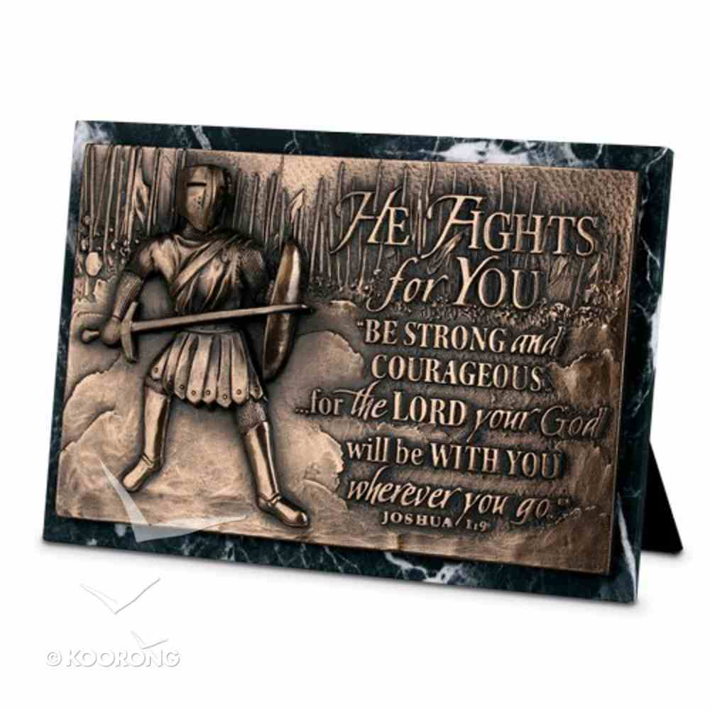 Moments of Faith Sculpture Plaque: Fights For You Marble (Joshua 1:9) (Rectangle) Homeware