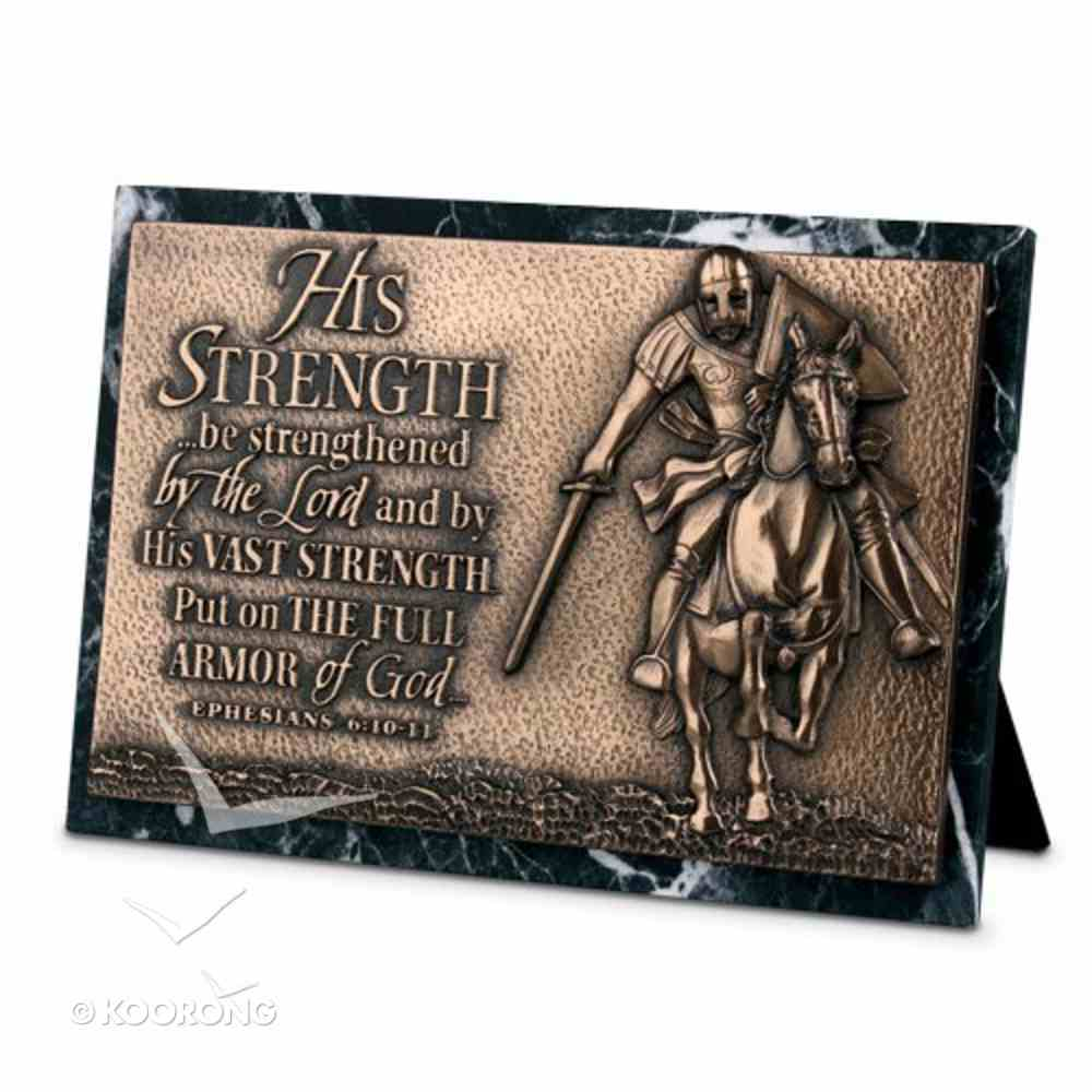 Moments of Faith Sculpture Plaque: Strength Marble (Eph 6:10-11) (Rectangle) Homeware