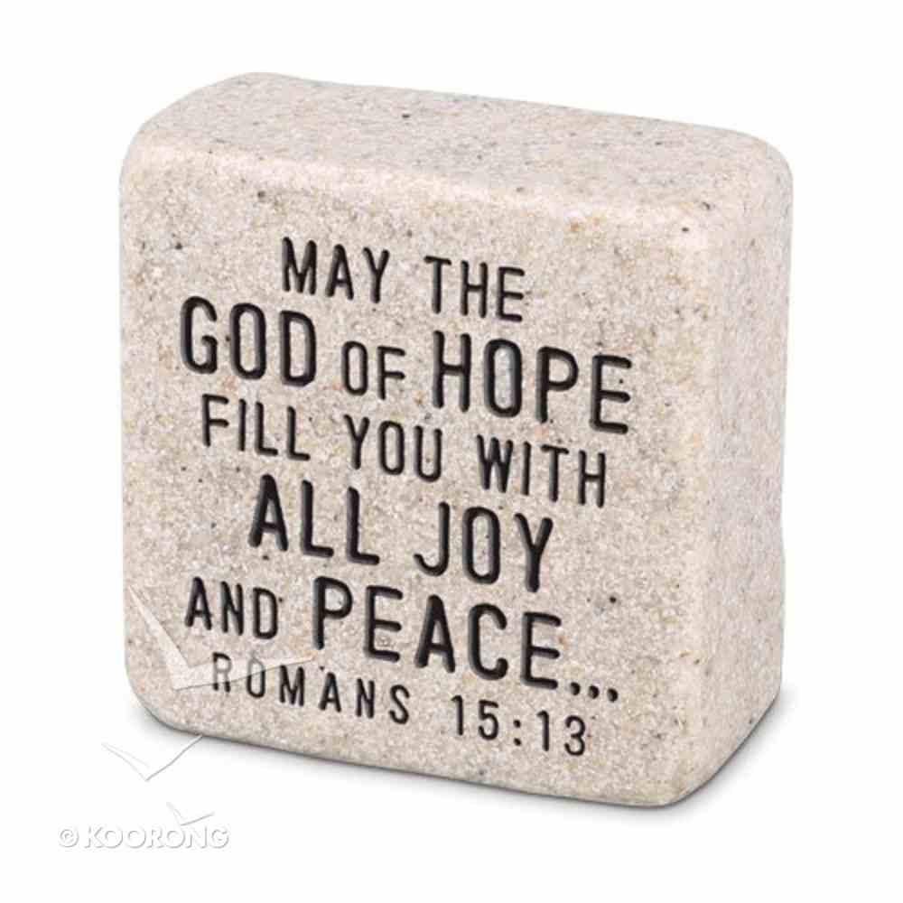 Cast Stone Plaque: Peace Scripture Stone, Cream (Romans 15:13) Plaque