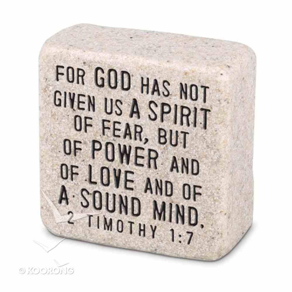 Cast Stone Plaque: Fearless Scripture Stone, Cream (2 Tim 1:7) Plaque