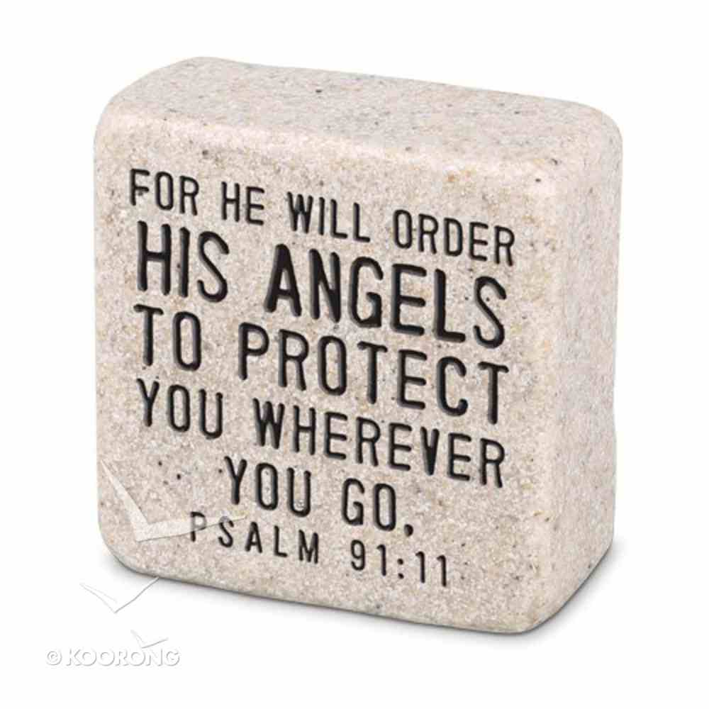Cast Stone Plaque: His Angels Scripture Stone, Cream (Psalm 91:11) Plaque
