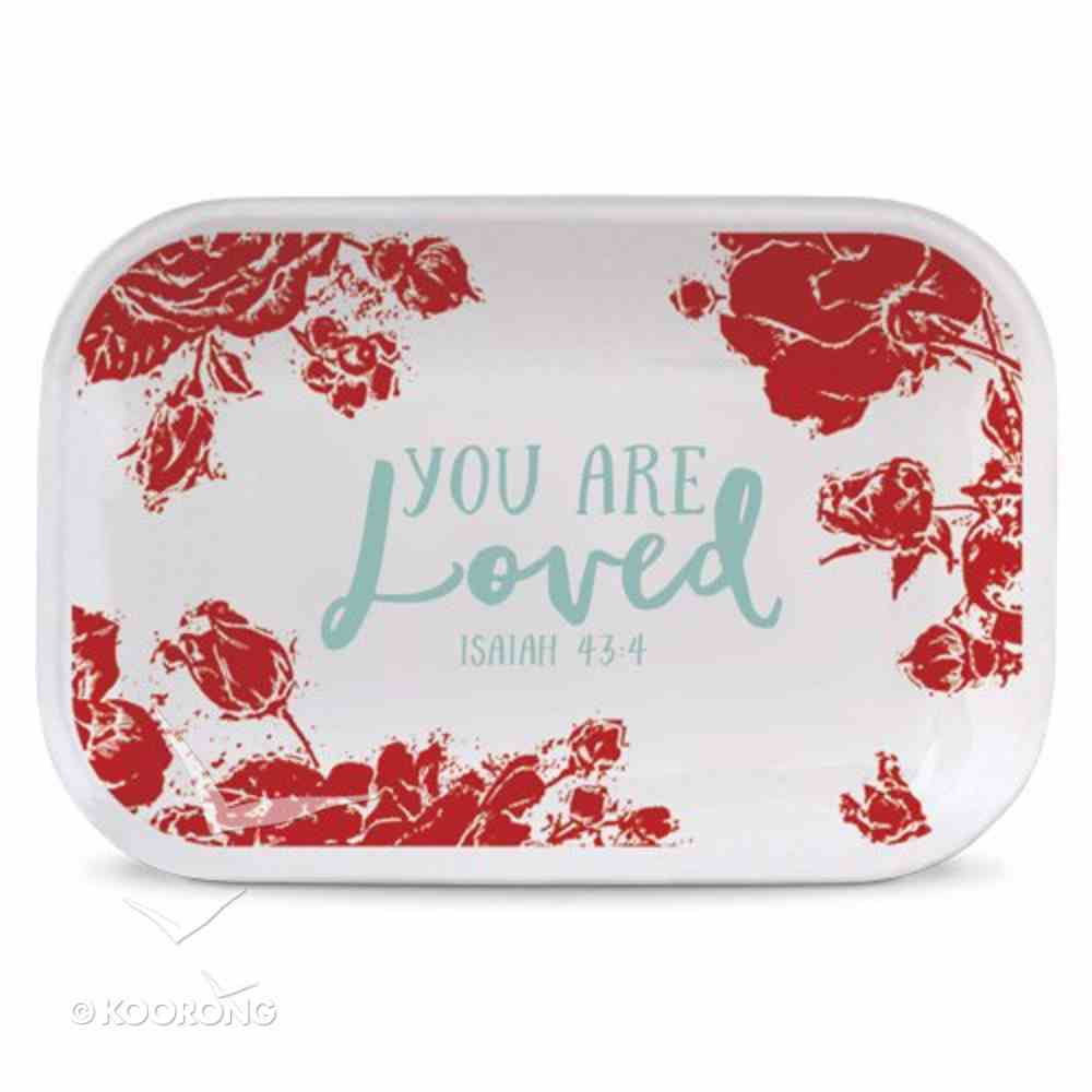 Ceramic Rectangle Tray Pretty Prints: You Are Loved, Red/White (Isaiah 43:4) Homeware