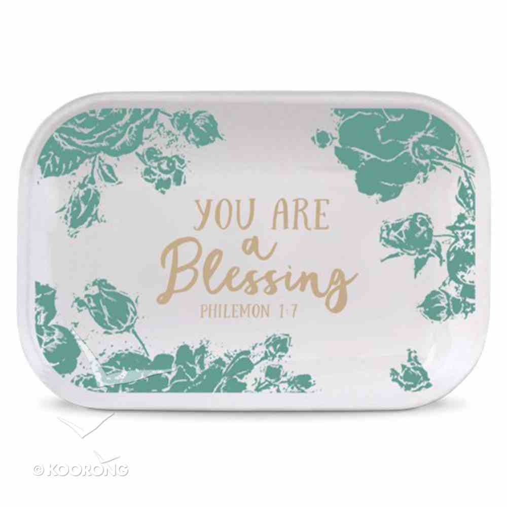 Ceramic Rectangle Tray Pretty Prints: You Are a Blessing, Turquoise/White (Philemon 1:7) Homeware